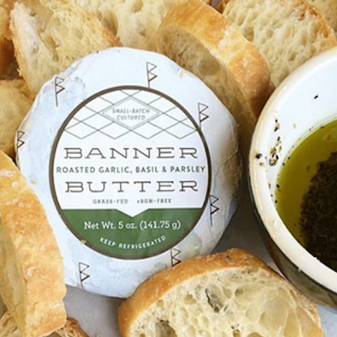 Banner Butter - Roasted Garlic, Basil, and Parsley available at H&F Bread Co