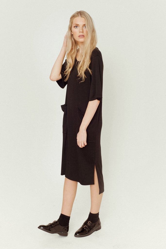 ERIN Lyocell And Organic Cotton Dress In Black