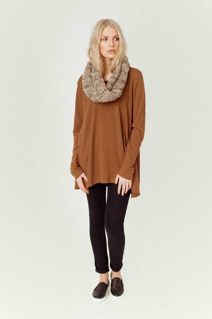 HELSA-MAE Lyocell And Wool Swing Top In Brown