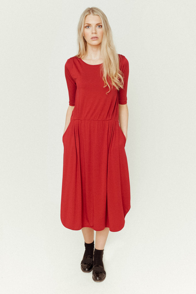 MULBERRY-LOU Lyocell Jersey Dress In Red