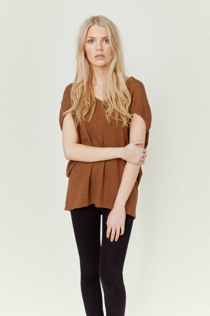 REID-MAY Lyocell and Wool Top In Brown