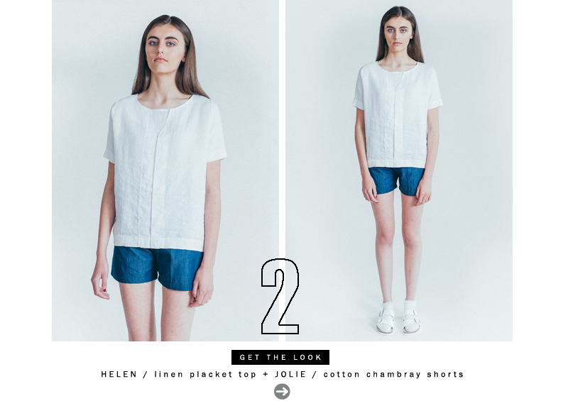 HELEN Linen Placket Top & JOLIE Cotton Chambray Shorts In Navy