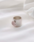 GWYNETH Silver Ring With Rose Quartz Stone