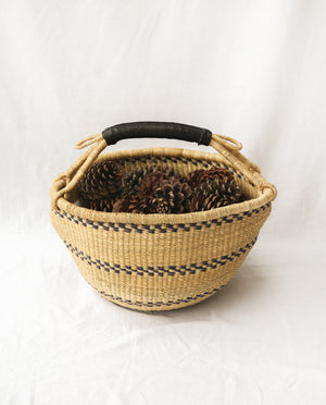 AMA Round Straw Basket With Leather Detail Handles