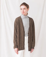 AMBER Wool Knitted Cardigan In Tobacco