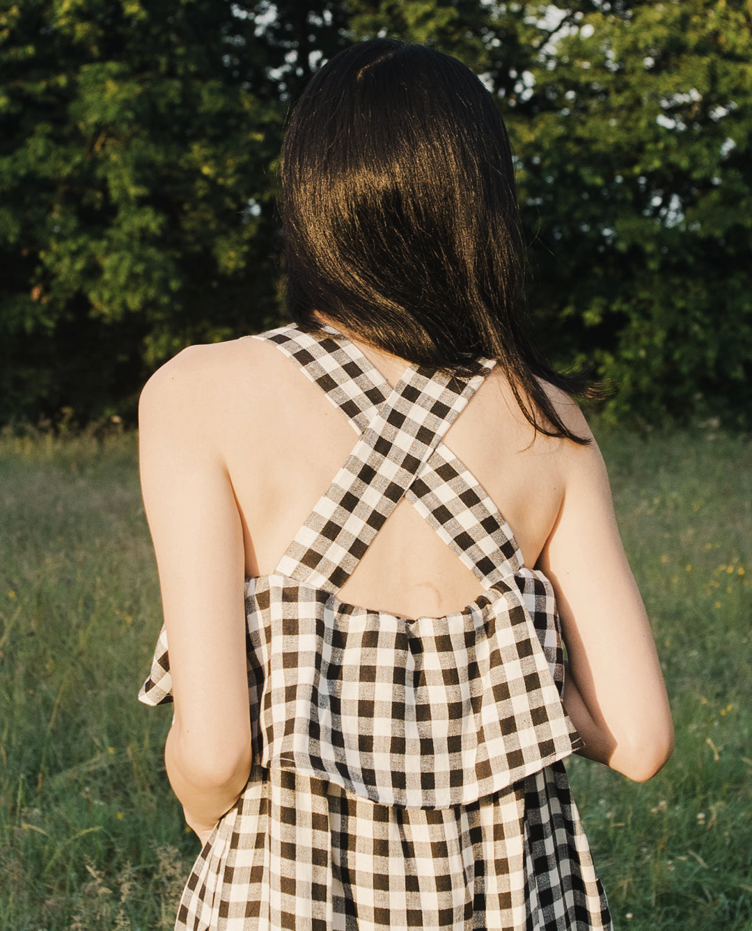 Arya-Gee Linen Dress In Gingham