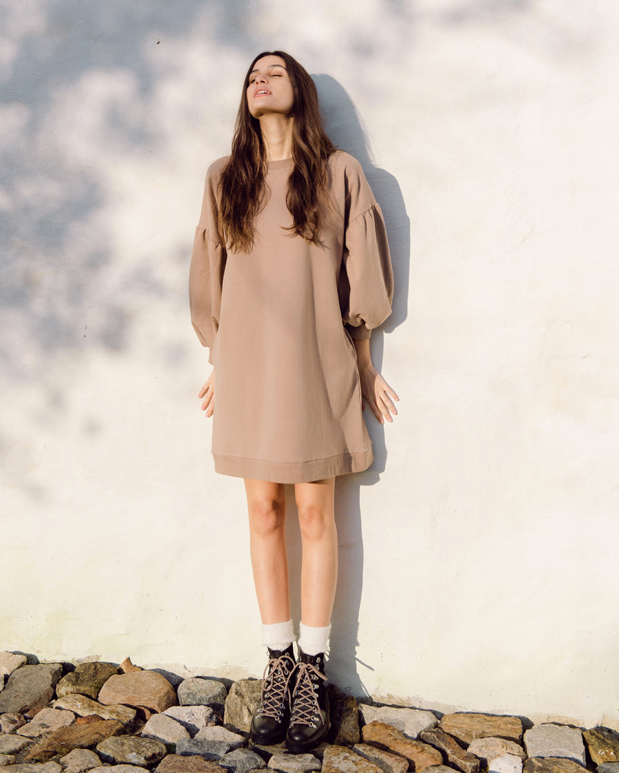 Abigail Organic Cotton Dress In Mocha