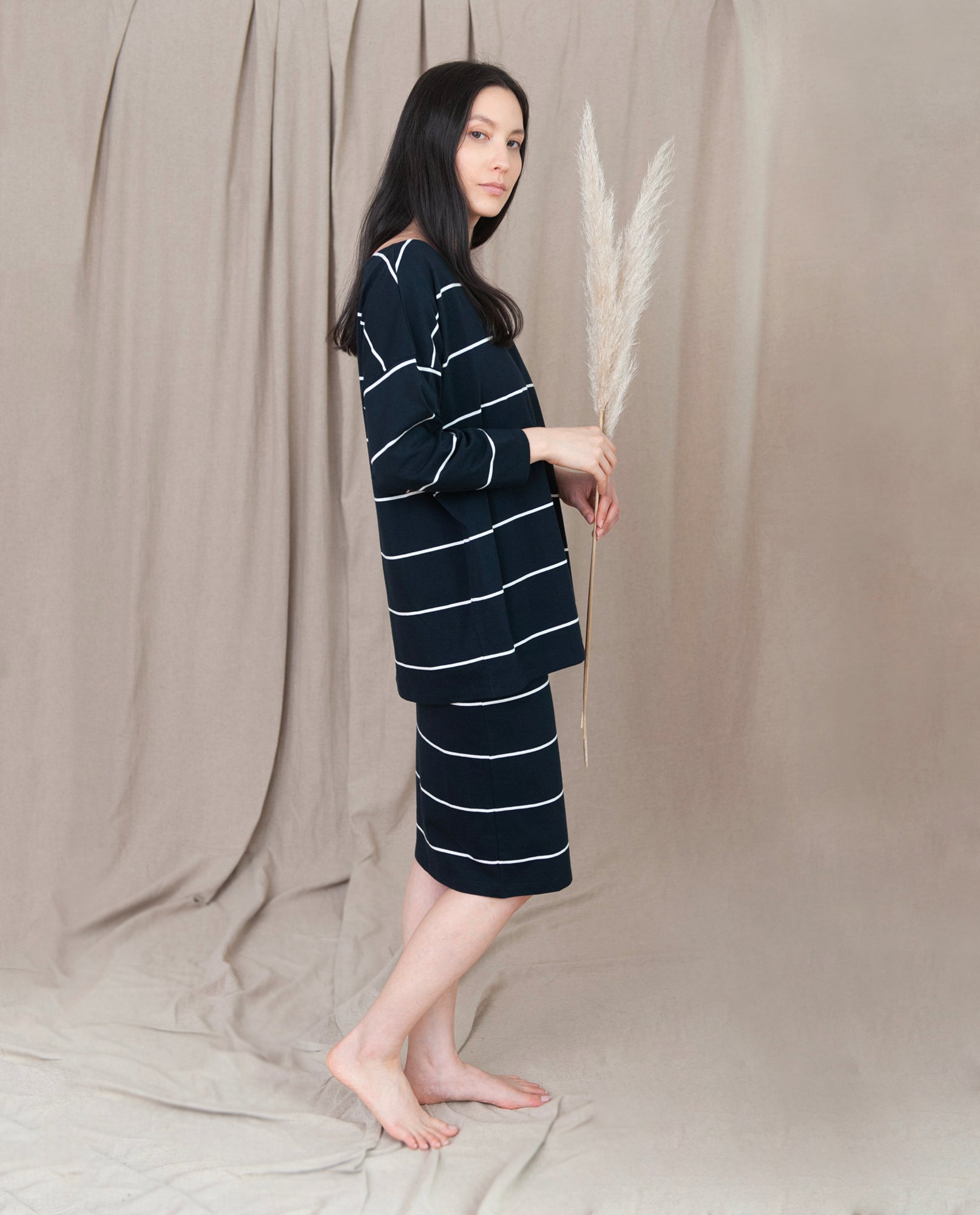 ADDISON Organic Cotton Skirt in Deep Indigo And Off White