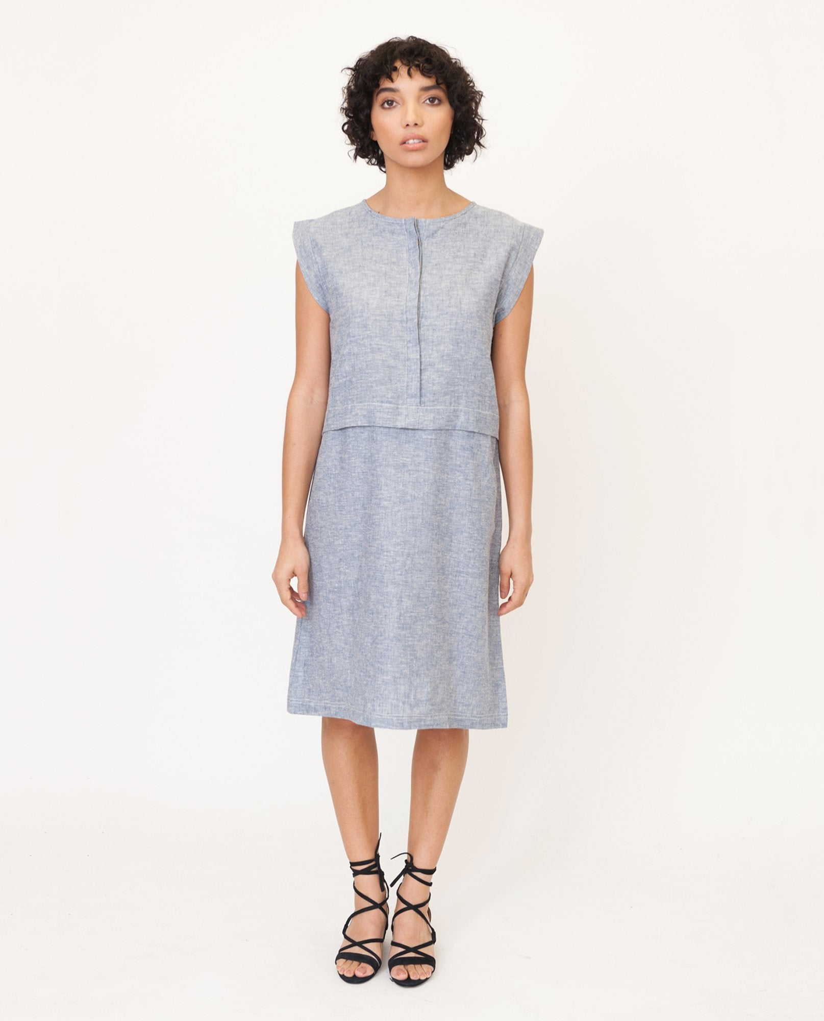 ADELE-JANE Hemp And Organic Cotton Dress In Navy Speckle