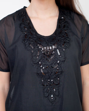 ADELLE Cotton And Silk Blouse In Black