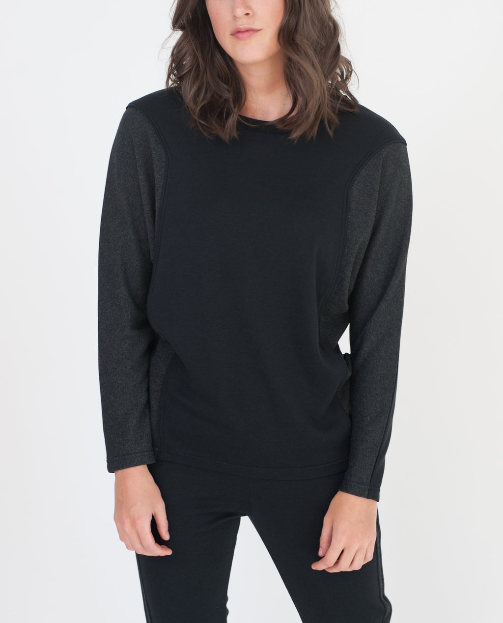 ADLEY Lyocell And Cotton Top In Black And Dark Grey