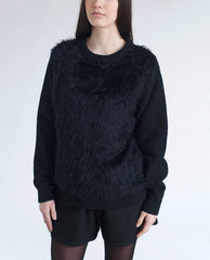 ALEXANDRA Fluffy Knitted Wool Jumper In Black