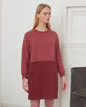 ALEXIS Organic Cotton Dress In Old Rose & Burgundy