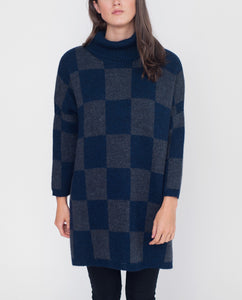 ALVINA-JO Mohair Cowl Neck Jumper In Navy