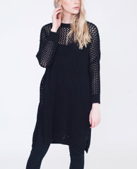 AMANDA Cotton Loose Knit Jumper Dress In Black