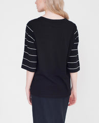AMELIA Organic Cotton Top In Black And White