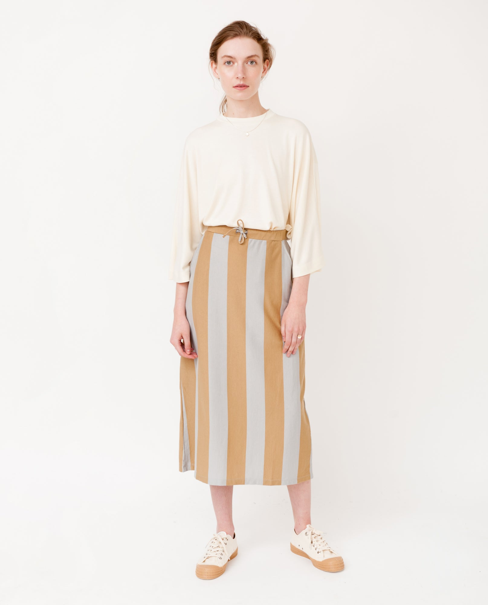 ANA-SOPHIA Organic Cotton Skirt In Stone And Flint