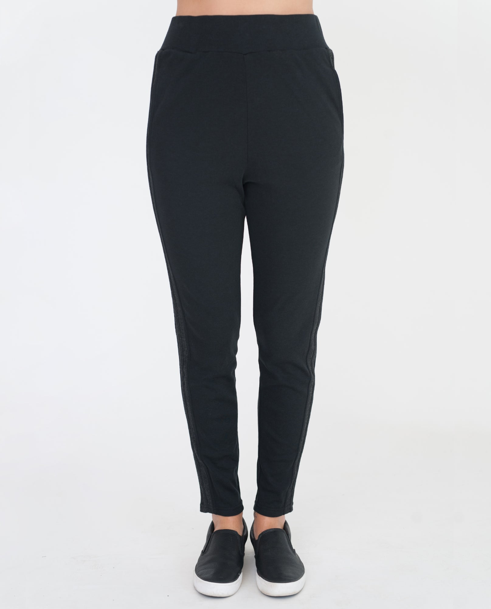 ANDI Lyocell And Cotton Trousers In Black And Dark Grey