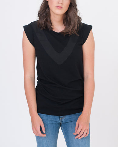 ANNABELLE Organic Cotton And Linen Top In Black