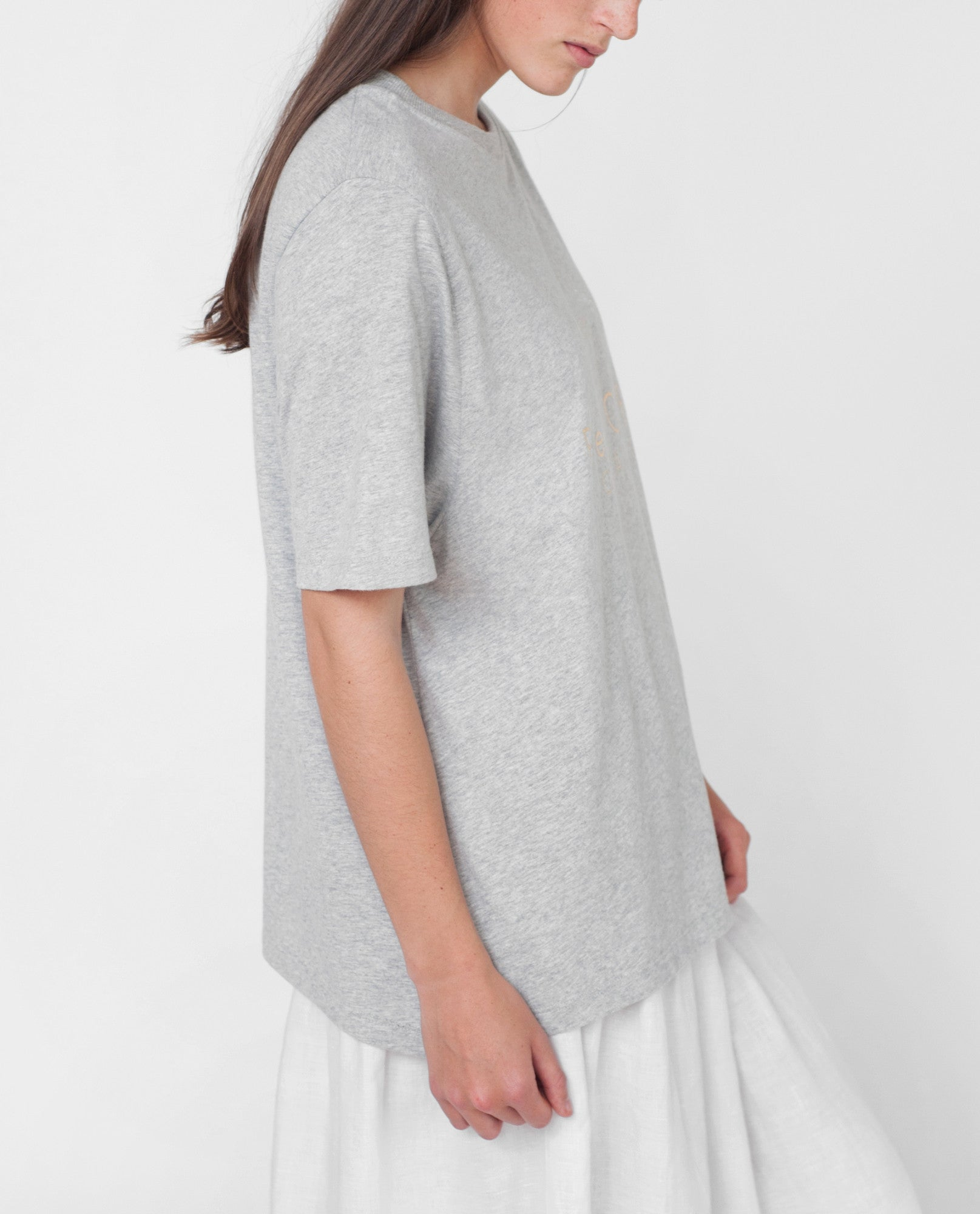 ANNIE Organic Cotton Print Tshirt In Light Grey