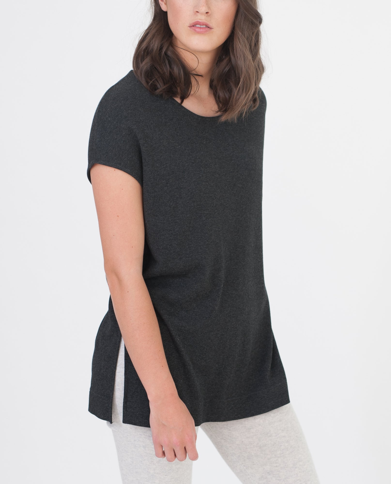 AURORA Lyocell And Cotton Top In Dark Grey