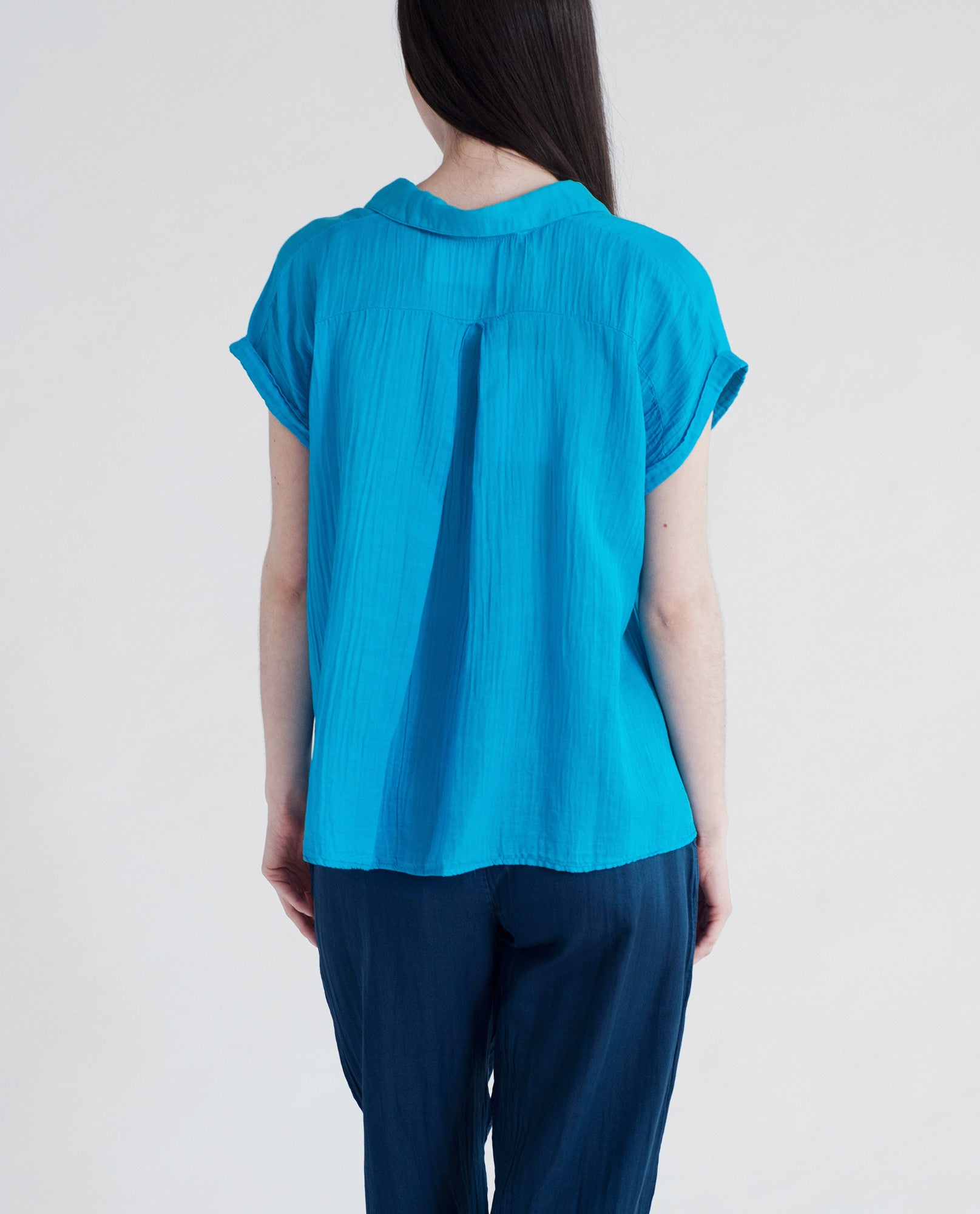 AZAMI Cotton And Silk Blouse In Bright Blue