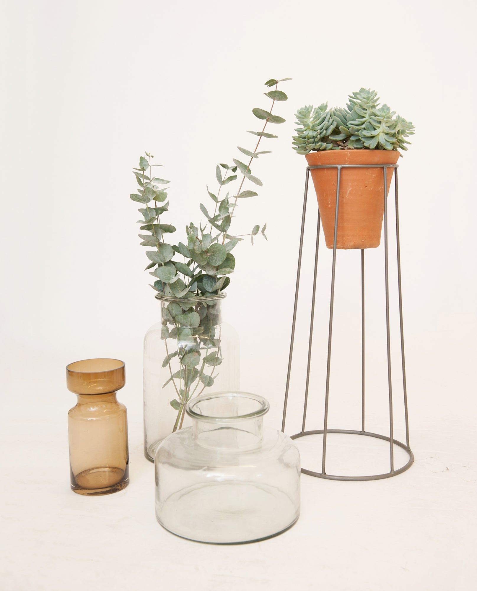Short Clear Glass Vase