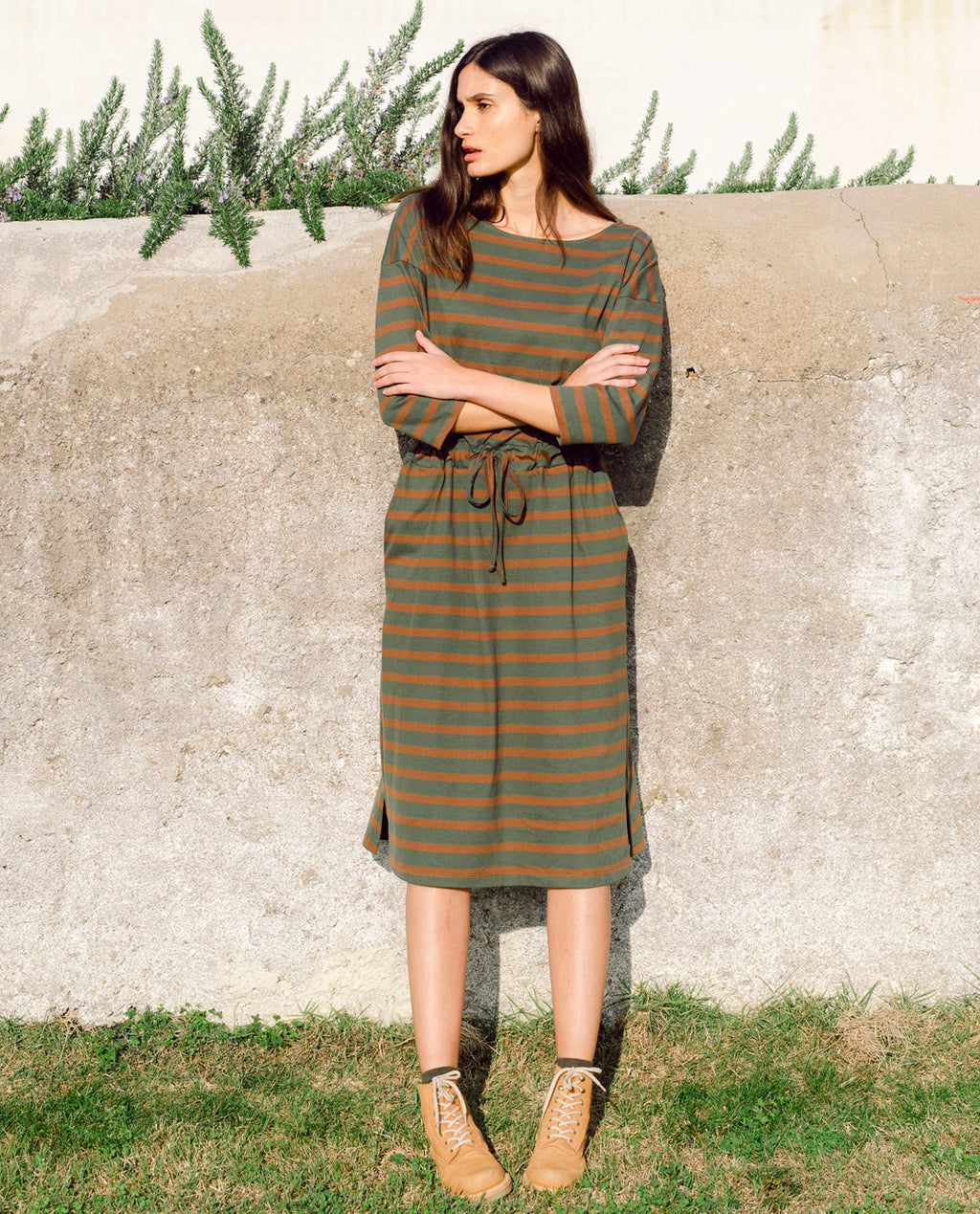 Bellamy-Sue Organic Cotton Dress In Army & Tan