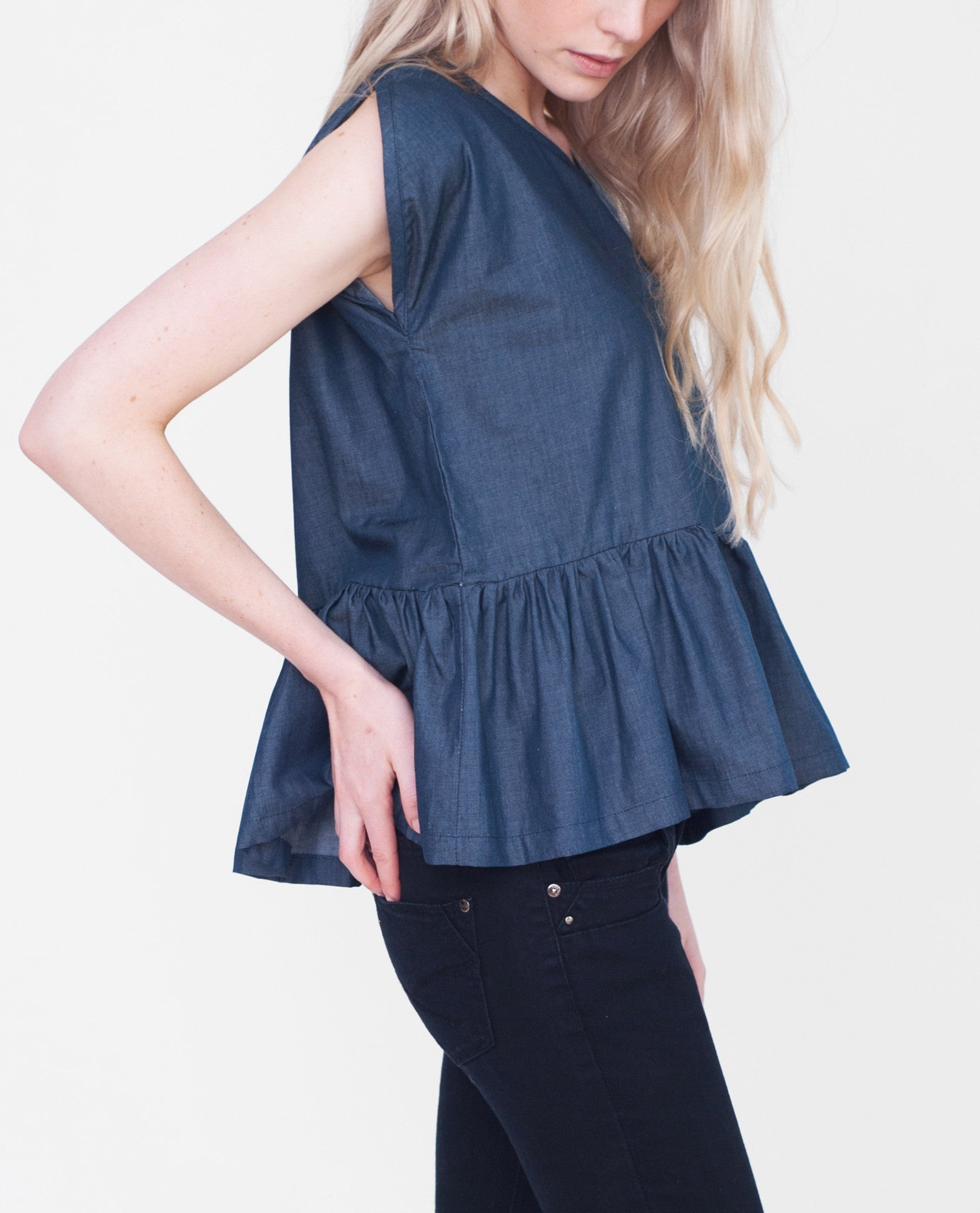 BELLE Cotton Denim Top In Navy Denim