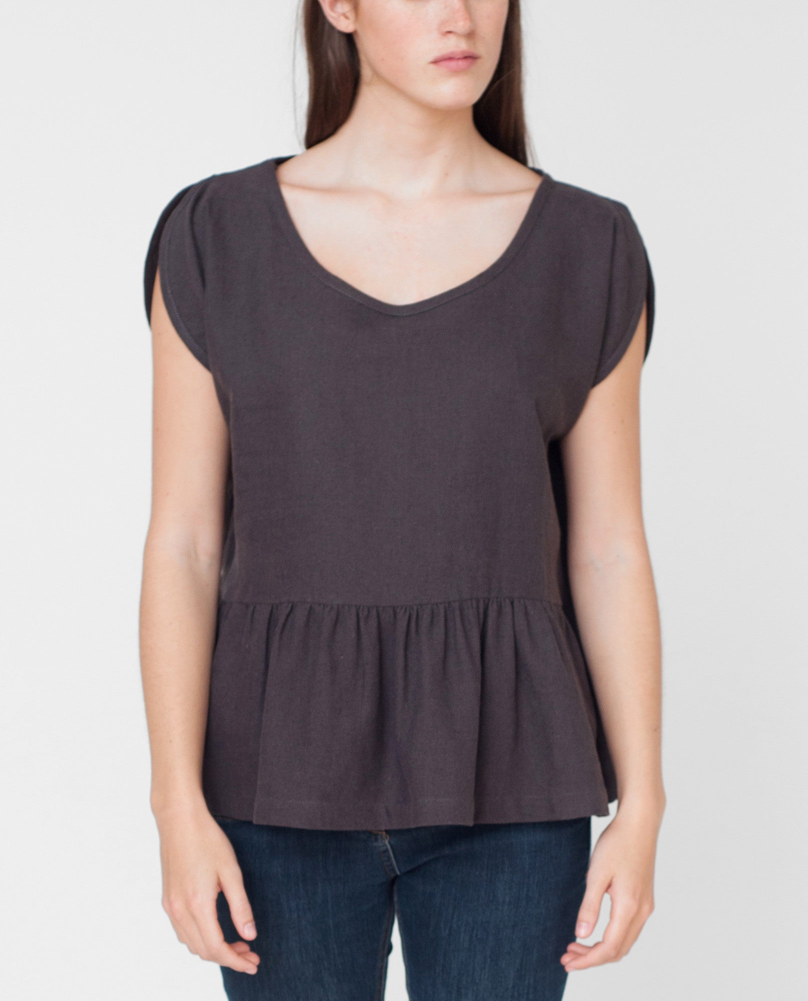 BELLE Linen And Cotton Top In Charcoal