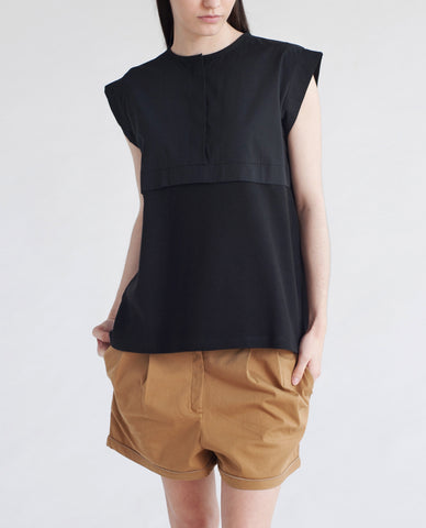 BETSY Pique Cotton And Canvas Top In Black