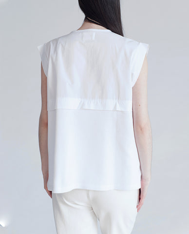 BETSY Pique Cotton And Canvas Top In White