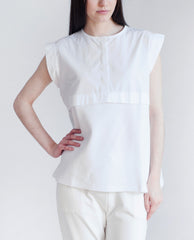 BETSY Pique Cotton And Canvas Top White