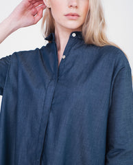 BLAINE Cotton Denim Shirt In Navy