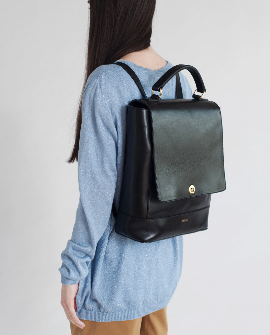 BRUGES Leather Multiway Backpack In Black