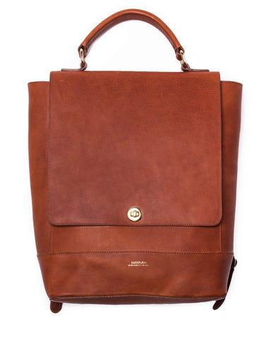 BRUGES Leather Multiway Backpack In Tan