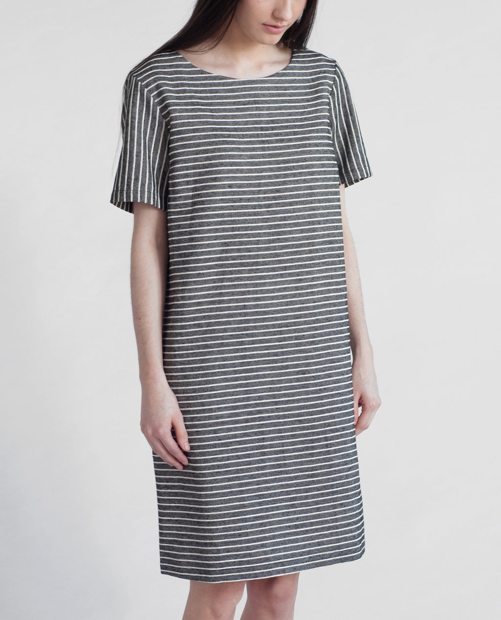 CLEMENTINE Cotton And Linen Shift Dress In Black & White Stripe