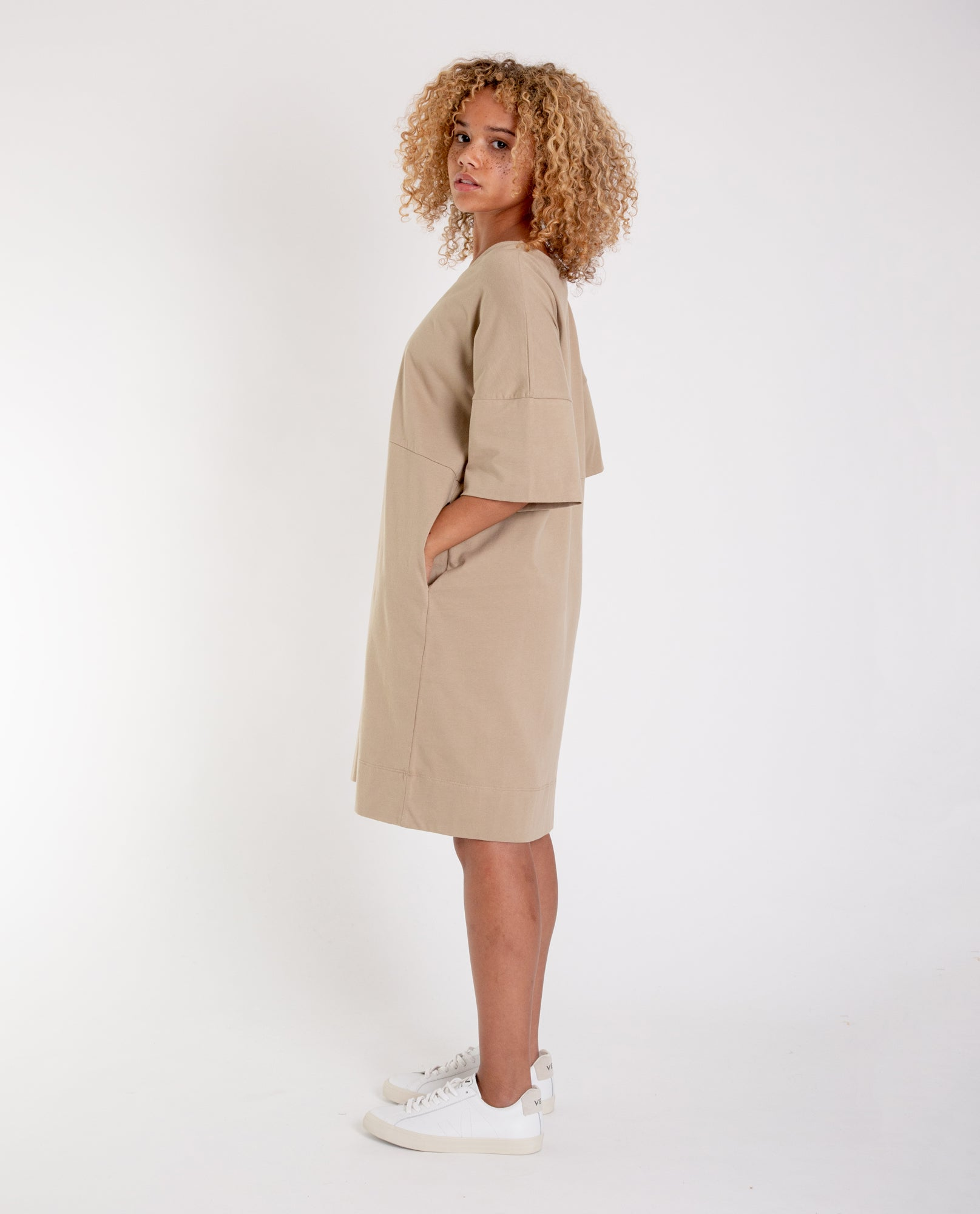 CARLA Organic Cotton Dress in Sand
