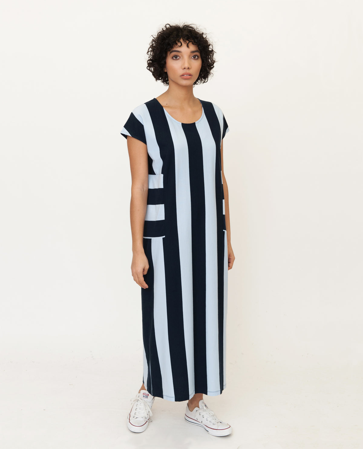 CAROL Organic Cotton Dress In Navy And Blue
