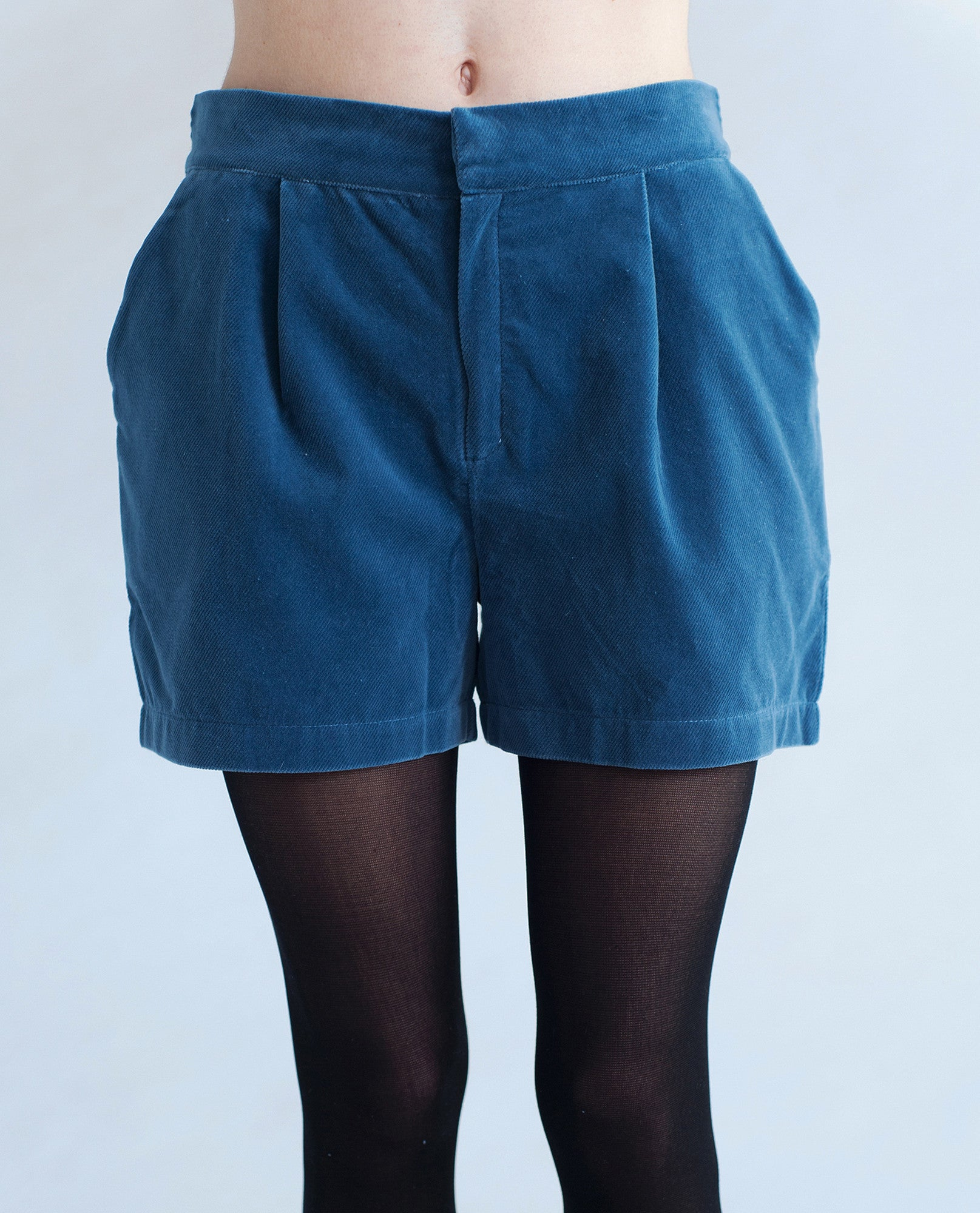 CASSANDRA Luxury Cotton Cord Shorts In Denim Blue