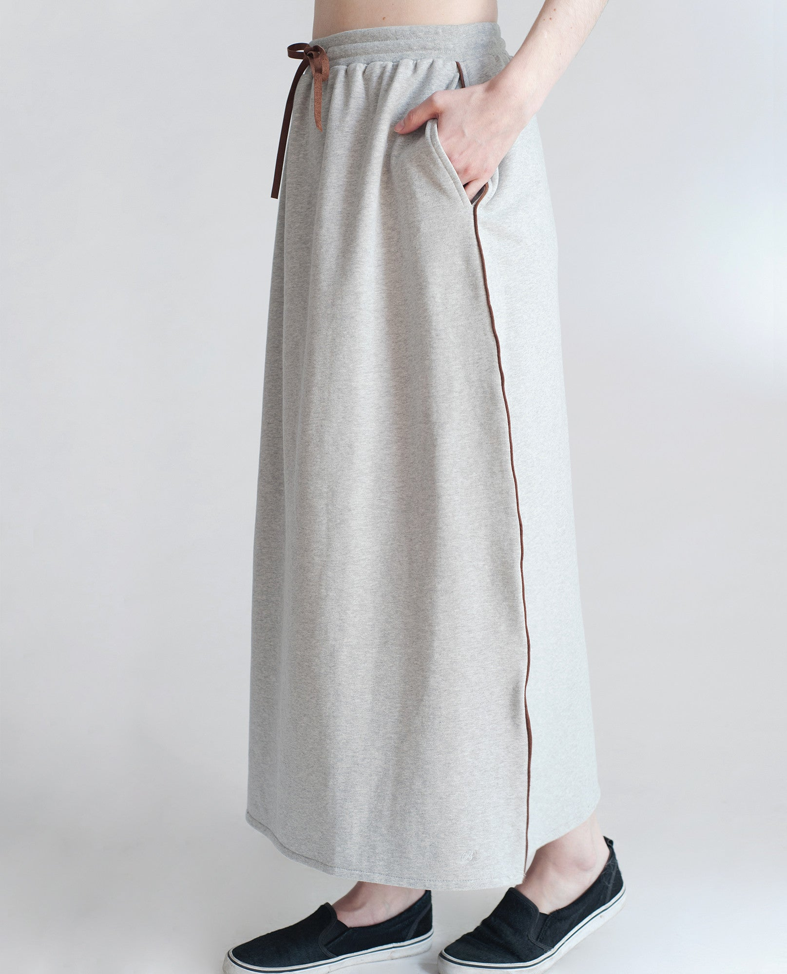 CATTLEYA Organic Cotton Maxi Skirt In Light Grey