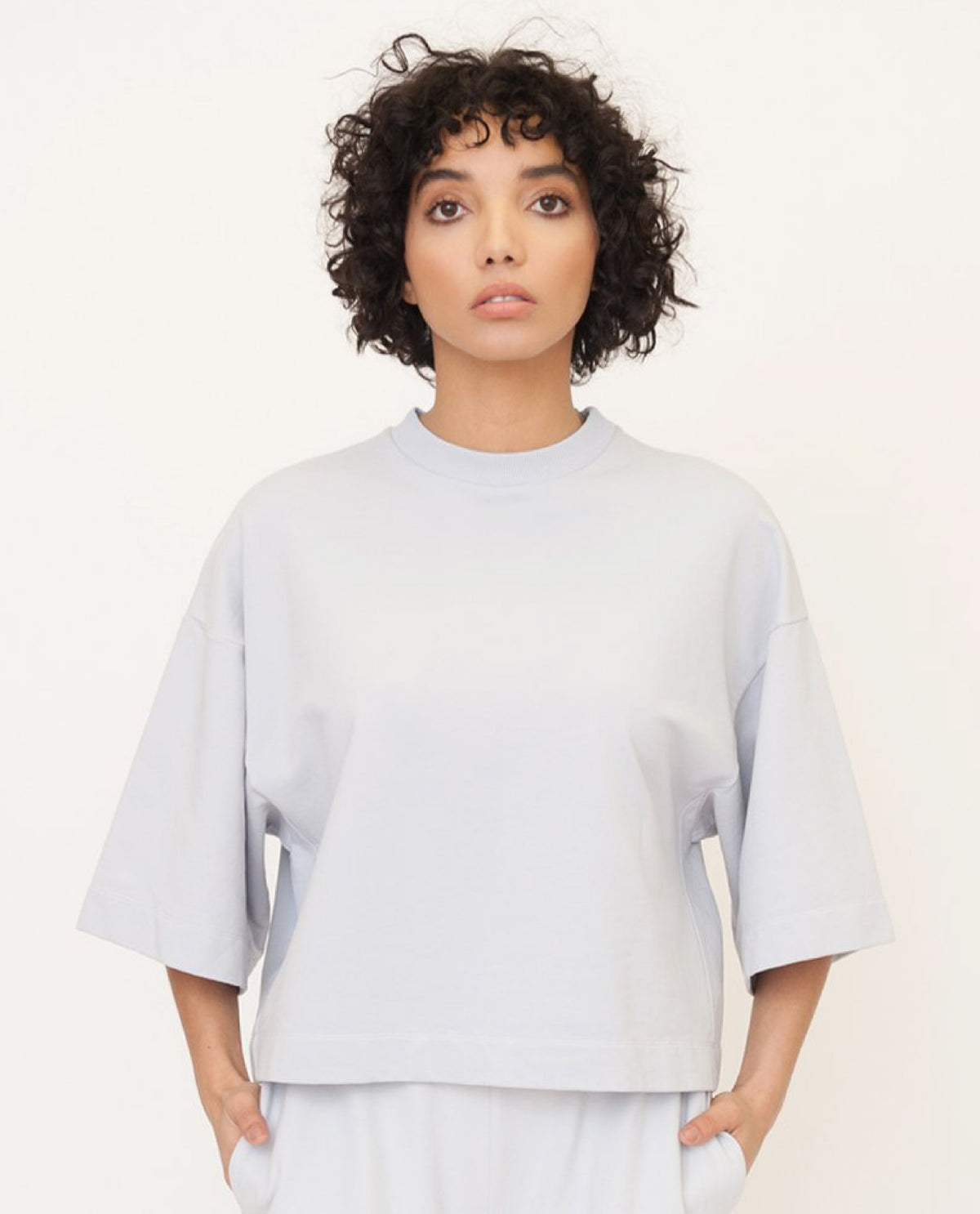 RILEY Organic Cotton Top In Grey