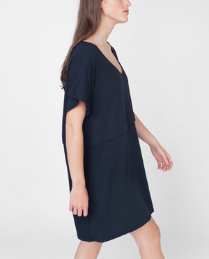 CHARLOTTE Organic Cotton Tunic Dress In Navy