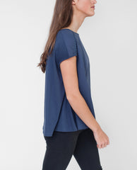 CLOVER Organic Cotton Crochet Top In Navy