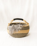 DENTAA Round Straw Basket With Leather Detail Handles