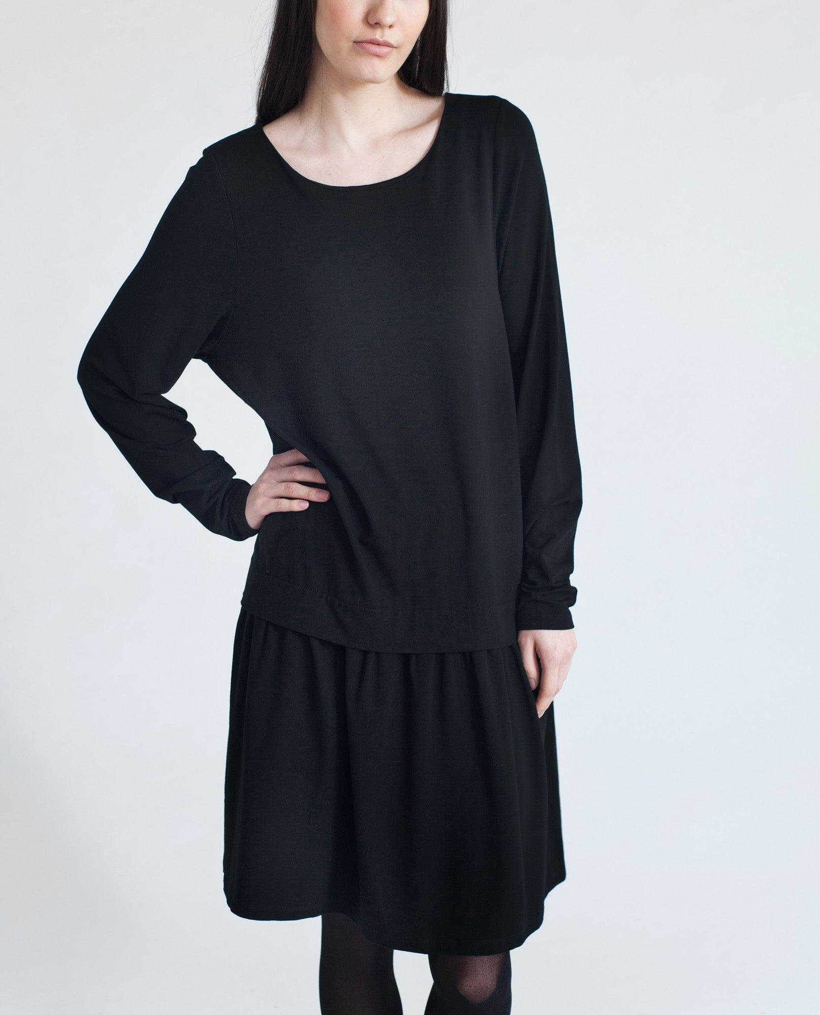 DAWN Dropped Waist Dress In Black from Beaumont Organic