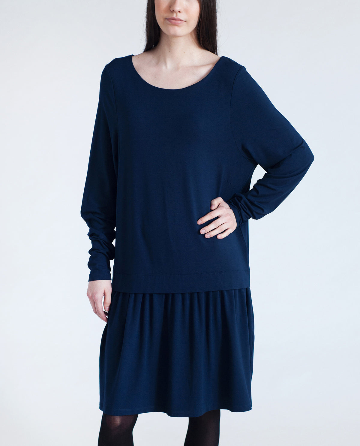 DAWN Dropped Waist Dress In Navy