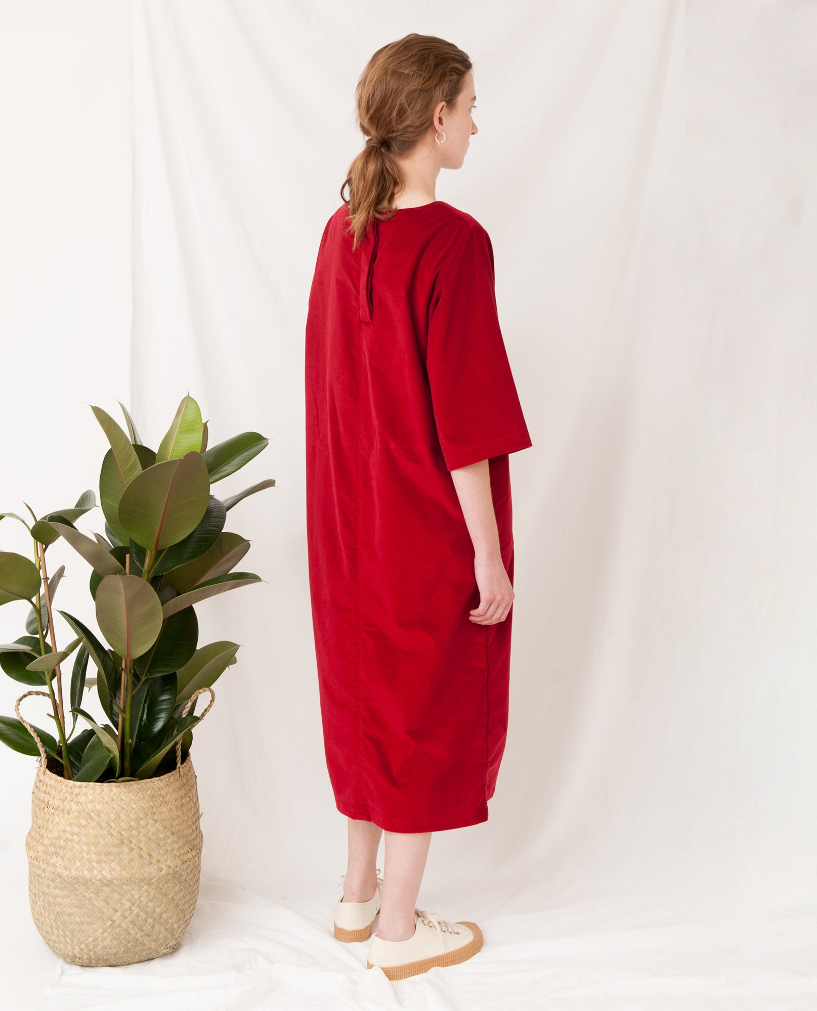 DEBORAH Organic Cotton Cord Dress In Red