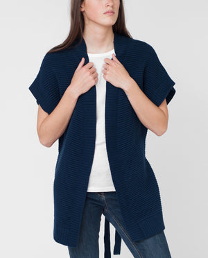 DORA Knitted Cotton Cardigan In Navy