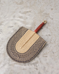 ELINAM Straw Hand Fan With Leather Handle